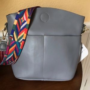 Everyday Grey Italian Leather Shoulder Bag